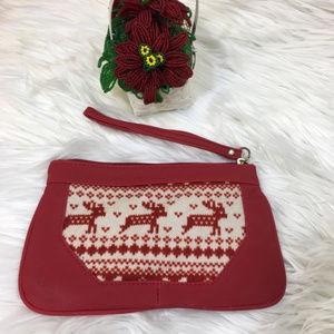 NWOT Red PVC & Christmas Sweater Reindeer Wristlet